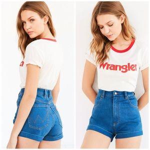 Wrangler x UO Pinup High Rise Cuffed Denim Shorts